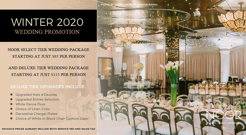 wedding promotions at noor banquet halls graphic with beautiful red and green bridge centerpiece on a romantic dinner table with candlelight and an out of focus wedding couple