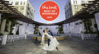 wedding venue awards the knot best of weddings 2020 award with a wedding couple kissing on the NOOR terrace