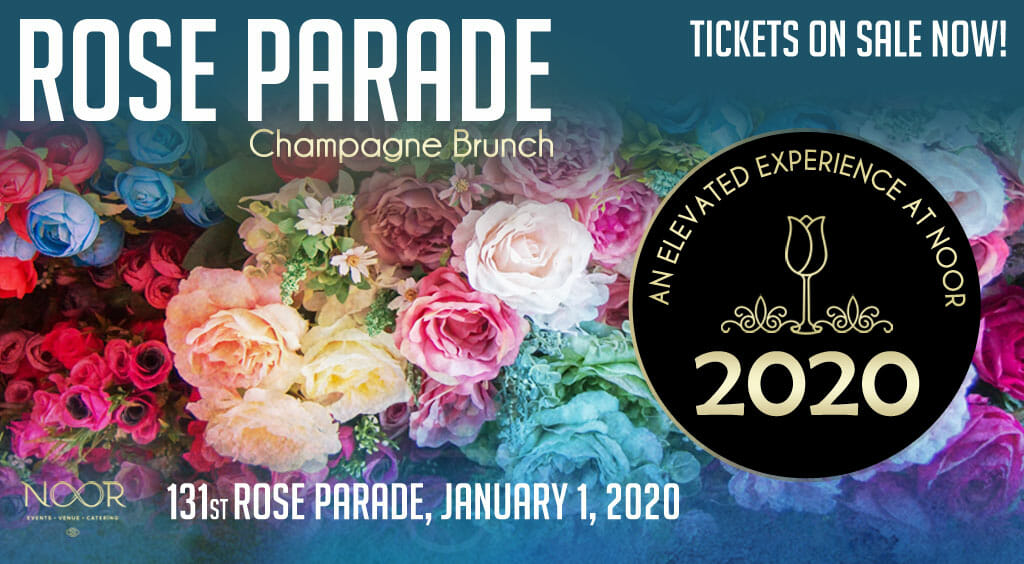 rose parade 2020 tickets banner with multicolored roses and flowers