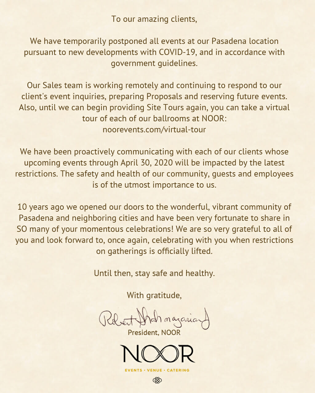 COVID-19 statement from NOOR
