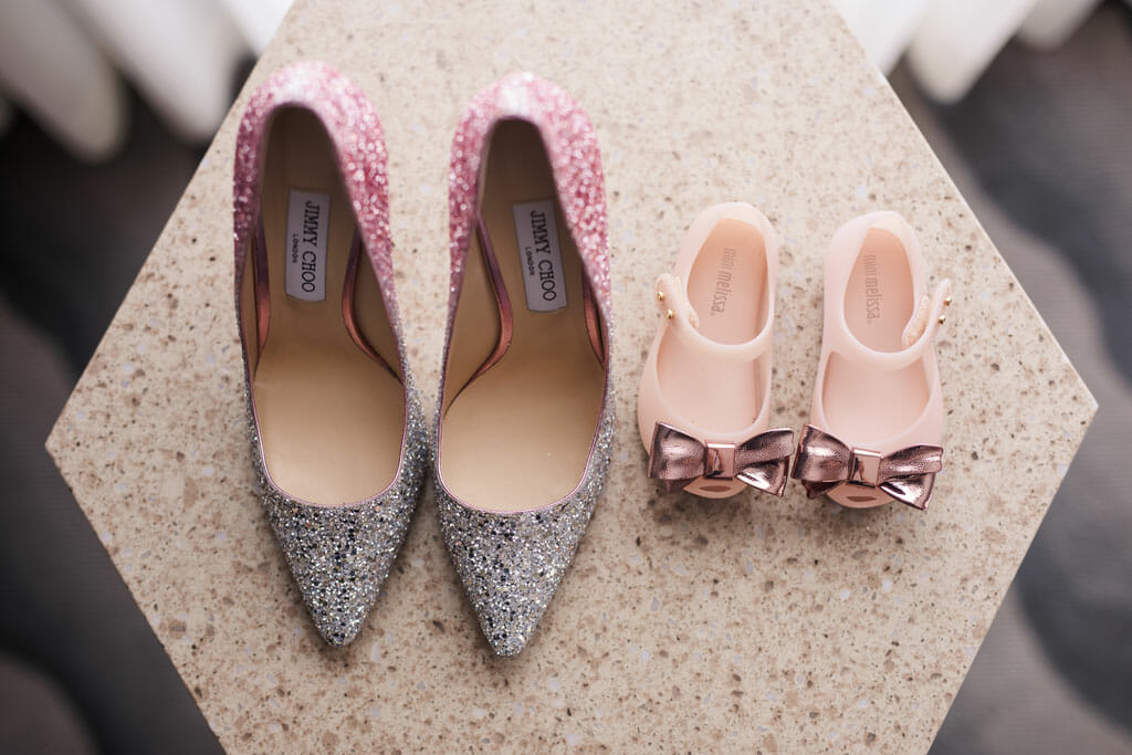 jimmy choo wedding shoes and mini melissa child's wedding shoes