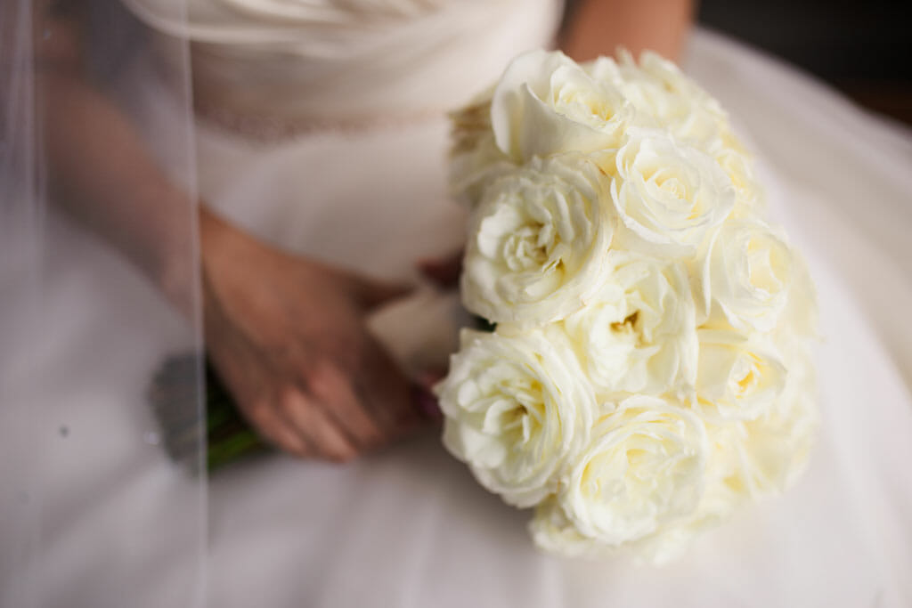 wedding bouquet of soft ivory roses