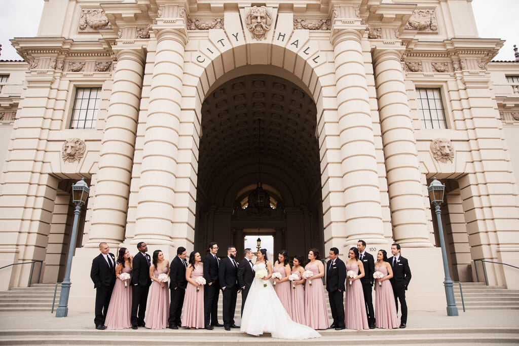 wedding party photo at pasadena city hall