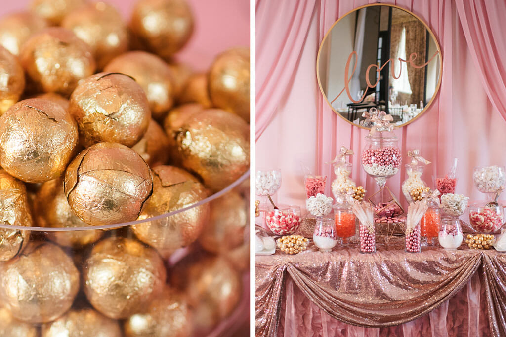 wedding reception desert table setup in pink, blush and gold