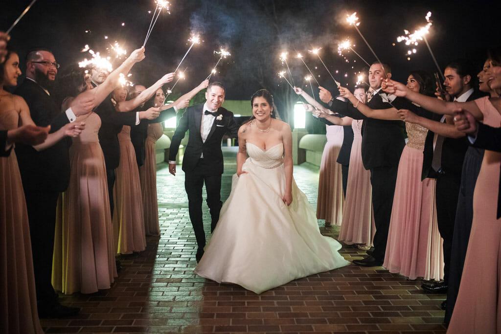 bride and groom sparkler exit at noor in pasadena