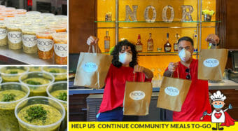 NOOR staff holding up soup bags and close ups of soup for gofundme donation page
