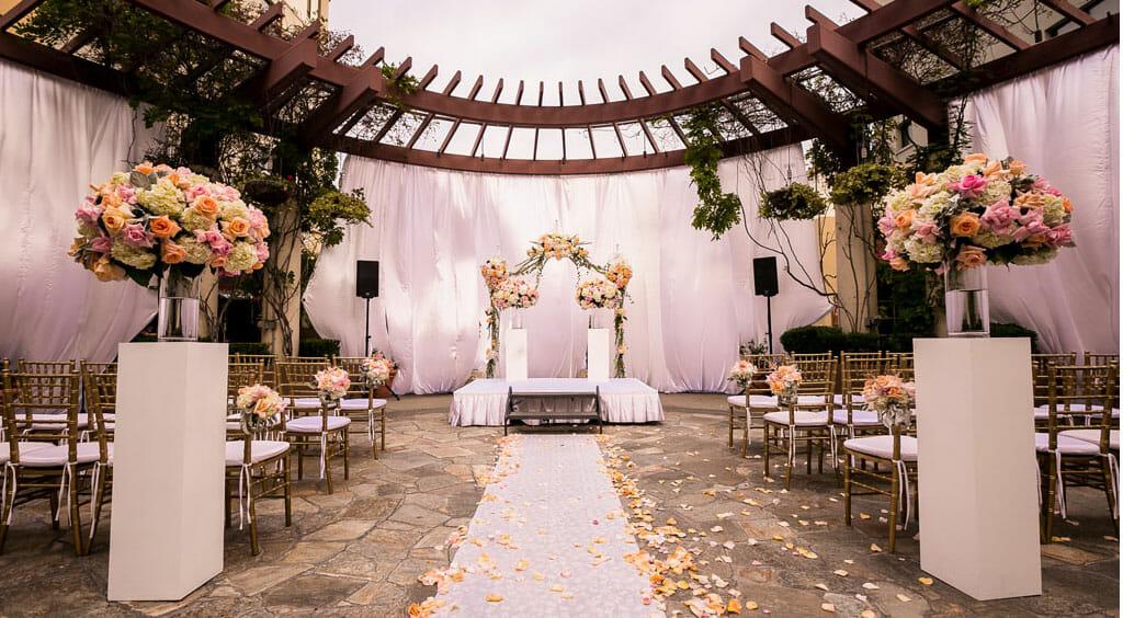 outdoor wedding ceremony setup on the NOOR terrace los angeles