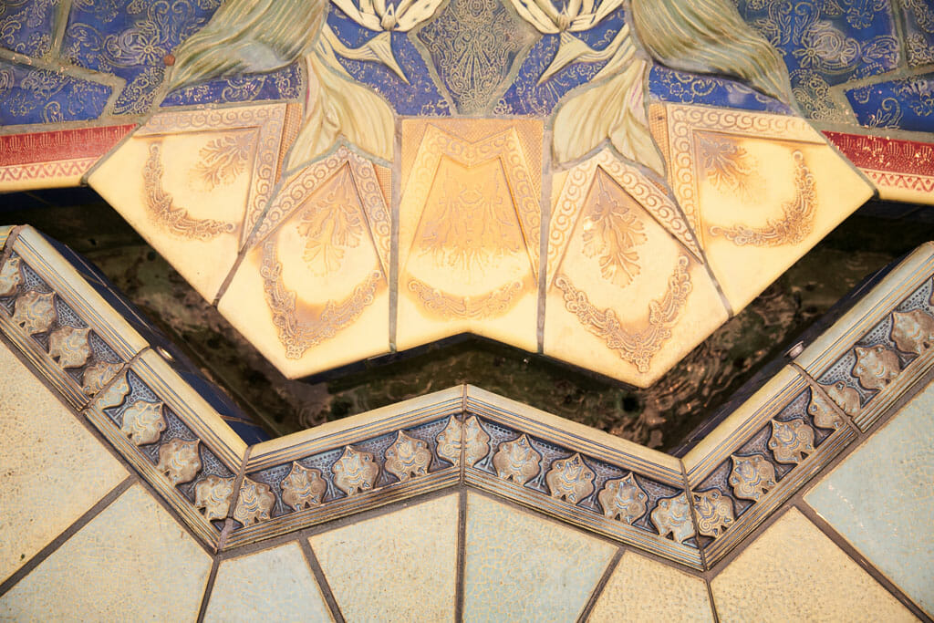 Detail of the tiles on the NOOR terrace fountain