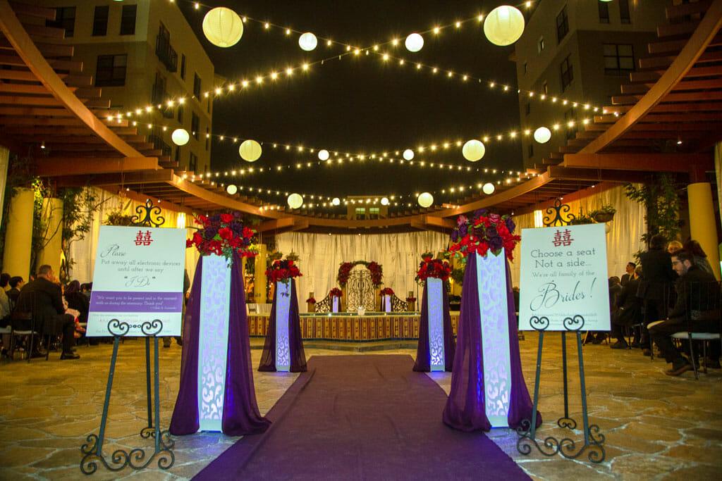evening outdoor wedding ceremony venue details